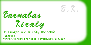 barnabas kiraly business card